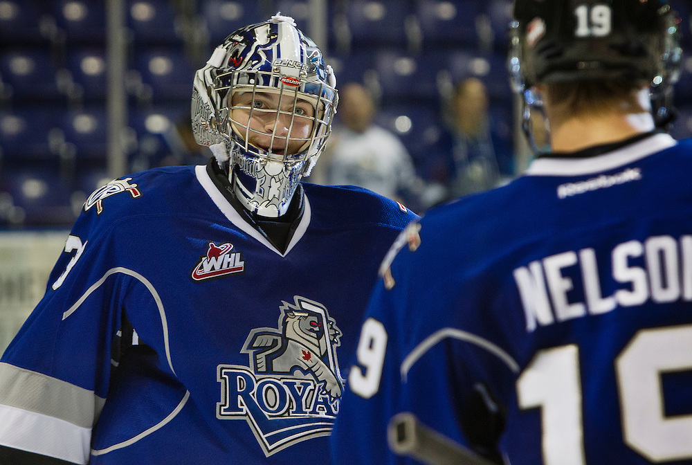 VICTORIA, B.C. - OCTOBER 11, 2013: Victoria Royals goaltender Patrick Polivka celebrates a 4-0 shutout vs the Lethbridge Hurricanes Oct 11, 2013 (Photo by Kevin Light)