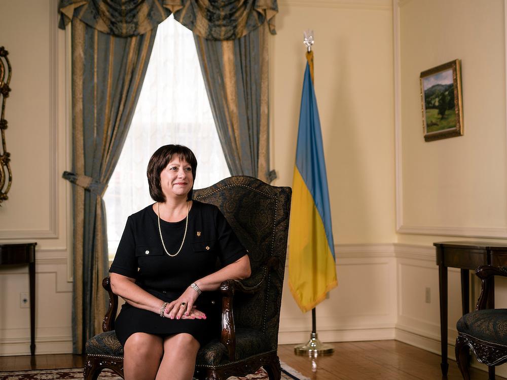 Natalija Jaresko, Ukriane's minister of finance, at the Ukrainian Embassy in Washington D.C. on April 14, 2015.