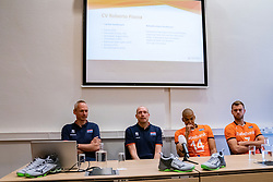 07-05-2019 NED: Press moment national volleyball team Men, Arnhem<br /> Roberto Piazza, the new national coach of the Dutch men's team, gives an overview of the group matches of the Golden European League, the OKT and the European Championship played in their own country / Assistant coach Henk Jan Held, Coach Roberto Piazza, Nimir Abdelazziz #14 of Netherlands, Gijs Jorna #7 of Netherlands