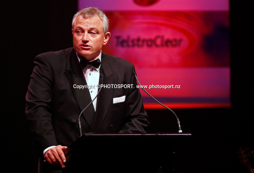 Telstra Clear CEO Dr Allan Freeth. A Tribute to Sir Graham Henry and Richie McCaw, Telstra Pacific Events Centre, Manukau, Auckland, Thursday 19 April 2012. Photo: Simon Watts / photosport.co.nz
