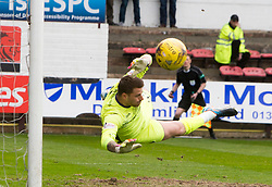 Dunfermline's sub keeper David Hutton saves. Dunfermline 1 v 2 Falkirk, Scottish Championship game played 22/4/2017 at Dunfermline's home ground, East End Park.