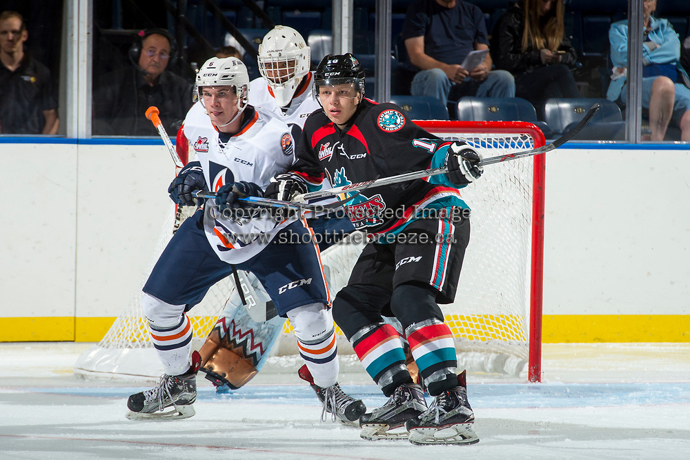 KELOWNA, CANADA - SEPTEMBER 5: Sean Strange #6 of the Kamloops Blazers is checked by Ted Brennan #10 of the Kelowna Rockets on September 5, 2017 at Prospera Place in Kelowna, British Columbia, Canada.  (Photo by Marissa Baecker/Shoot the Breeze)  *** Local Caption ***