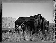 An abandoned farm house slowly decays near the Eastern Sierra toen of Bishop, California.