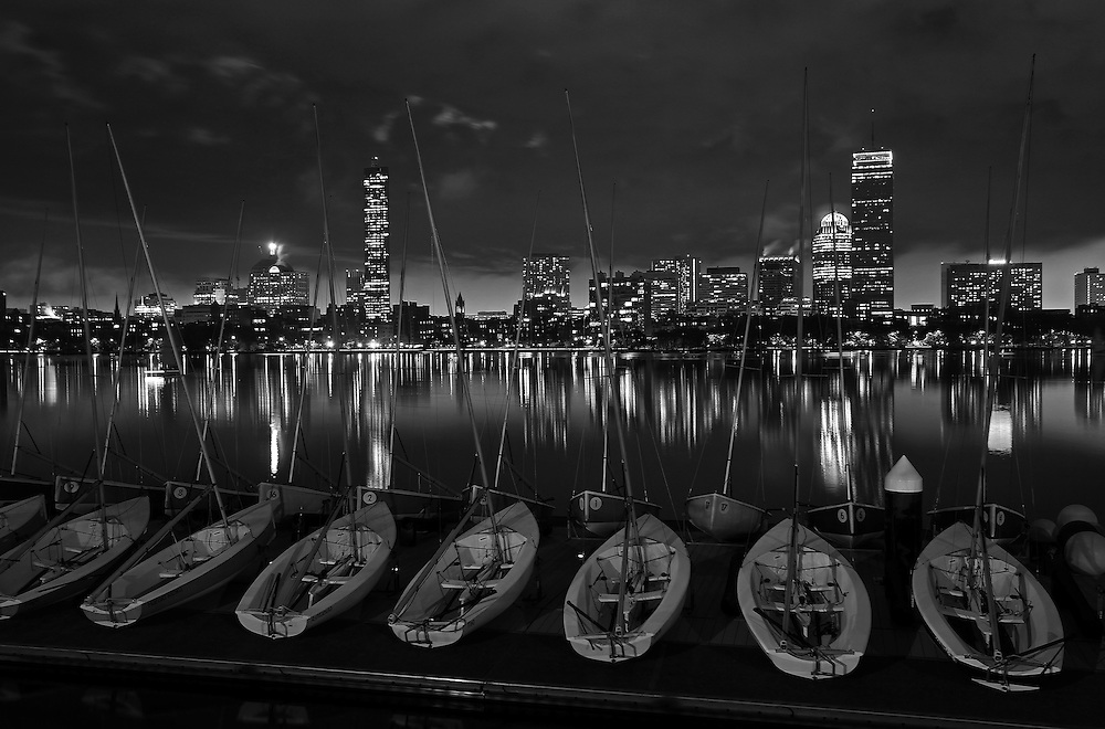 Boston bw photography of the charles river featuring famous landmarks such as the prudential center and