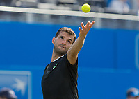 Tennis - 2017 Aegon Championships [Queen's Club Championship] - Day Three, Wednesday<br /> <br /> Men's Singles, Round of 16 - Grigor Dimitrov (BUL) vs Julien Benneteau (FRA)<br /> <br /> Grigor Dimitrov (BUL) serves at Queens Club<br /> <br /> COLORSPORT/DANIEL BEARHAM