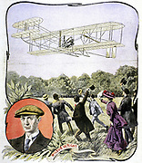 Wilbur Wright's (American aviator) first flight in Europe, at the Hanaudieres racetrack near Le Mans, France in the Wright Brothers' 'Flier'. August 1908. Illustration from 'Le Petit Journal' Paris, 30 August 1908.