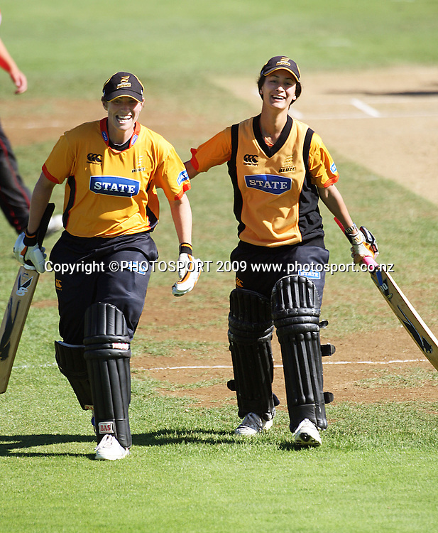 Wellington batters Anna Dodd and Mindy Hodgeson celebrate victory.<br /> State League 20/20 final. Wellington Blaze v Canterbury Magicians at Allied Prime Basin Reserve, Wellington. Saturday, 25 January 2009. Photo: Dave Lintott/PHOTOSPORT