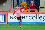 Exeter City's Tom Nichols celebrates after scoring the equalising goal during the Sky Bet League 2 match between Exeter City and Accrington Stanley at St James' Park, Exeter, England on 23 January 2016. Photo by Graham Hunt.