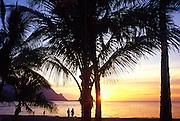 Sunset, Hanalei Bay, Kauai, hawaii<br />