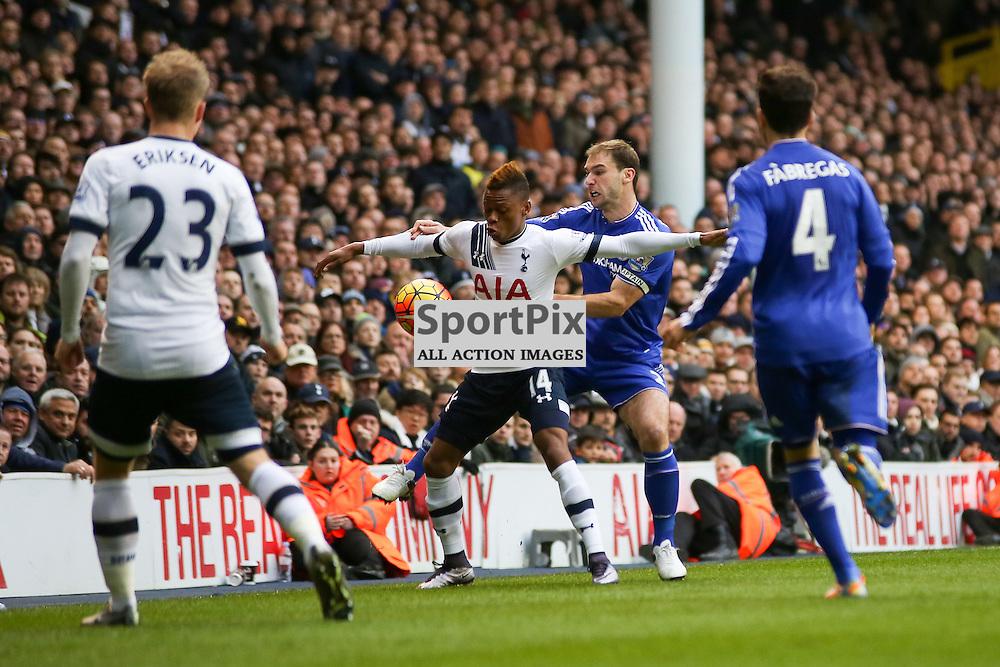Clinton N'jie holds off Branislav Ivanovic During Tottenham Hotspur vs Chelsea on Sunday the 29th November 2015.