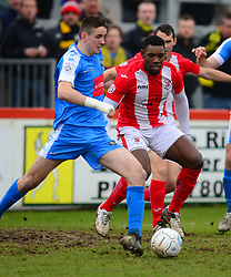 BRACKLEYS LEE NDLOVU MARKS HARROGATE LIAM KITCHING, Brackley Town v Harrogate Town Vanarama National League North, St James Park Good Friday 30th March 2018, Score 0-0.