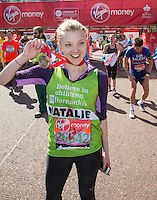 Natalie Dormer at the end of the Virgin Money London Marathon 2014 on Sunday 13 April 2014<br /> Photo: Roger Allan/Virgin Money London Marathon<br /> media@london-marathon.co.uk