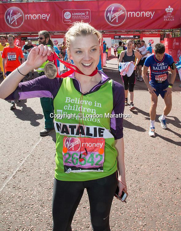 Natalie Dormer at the end of the Virgin Money London Marathon 2014 on Sunday 13 April 2014<br /> Photo: Roger Allan/Virgin Money London Marathon<br /> media@london-marathon.co.uk