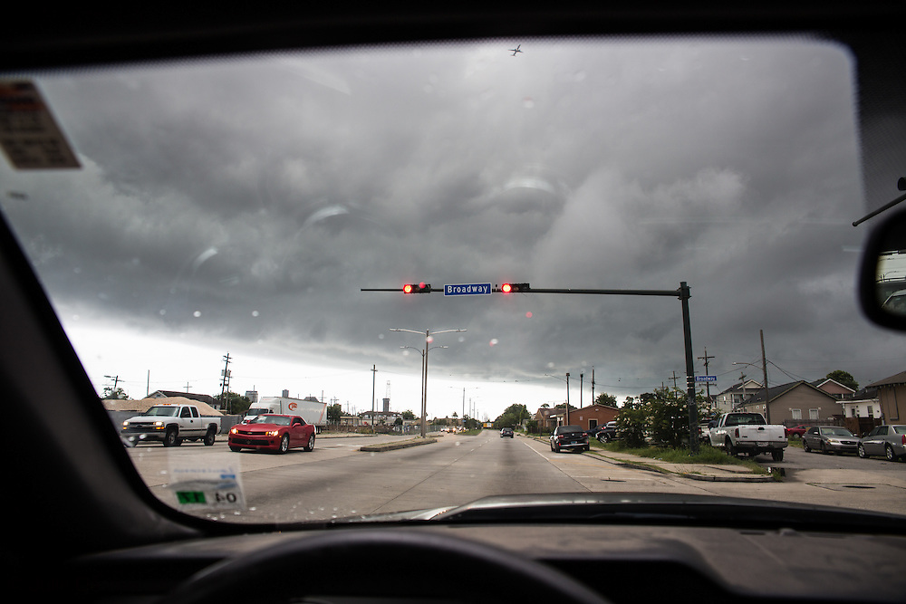 June 12, 2015, New Orleans, LA, ddriving on a rainy day toward the center of the city.