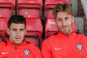 York City midfielder Michael Coulson & York City forward Jake Hyde during the Sky Bet League 2 match between York City and Carlisle United at Bootham Crescent, York, England on 19 September 2015. Photo by Simon Davies.