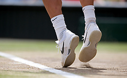 LONDON, ENGLAND - Sunday, July 4th, 2010: The Nike tennis shoes of Tomas Berdych (CZE) during the Gentlemen's Singles Final match on day thirteen of the Wimbledon Lawn Tennis Championships at the All England Lawn Tennis and Croquet Club. (Pic by David Rawcliffe/Propaganda)