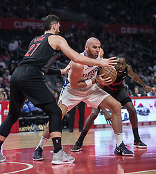December 17, 2018 - Los Angeles, California, United States of America - Marcin Gortat #13 of the Los Angeles Clippers gets a rebound during their NBA game with the Portland Trailblazers on Monday December 17, 2018 at the Staples Center in Los Angeles, California. Clippers lose to Trailblazers, 127-131. JAVIER ROJAS/PI (Credit Image: © Prensa Internacional via ZUMA Wire)
