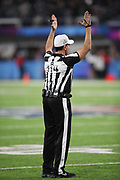 NFL referee Gene Steratore (114) signals touchdown after an instant replay review of Philadelphia Eagles rookie running back Corey Clement (30) after Clement catches a 22 yard touchdown pass good for a 29-19 third quarter Eagles lead during the 2018 NFL Super Bowl LII football game against the New England Patriots on Sunday, Feb. 4, 2018 in Minneapolis. The Eagles won the game 41-33. (©Paul Anthony Spinelli)