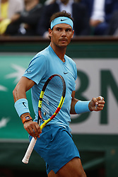 May 29, 2018 - Paris, Ile-de-France, France - Rafael Nadal of Spain in action against Simone Bolelli (not seen) of Italy during their first round match at the French Open tennis tournament at Roland Garros Stadium in Paris, France on May 29, 2018. (Credit Image: © Mehdi Taamallah/NurPhoto via ZUMA Press)