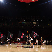 05 December 2018: The Aztecs cheerleaders lead the team onto the court prior to taking on the San Diego Toreros. The Aztecs lost to the Toreros 73-61 at Viejas Arena.