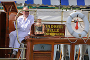 Henley, GREAT BRITAIN, 2012   The Windsor Belle, traditional wooden boat. Thursday   15:53:02   28/06/2012  [Mandatory Credit, Intersport Images]. ...Rowing Courses, Henley Reach, Henley, ENGLAND . HRR