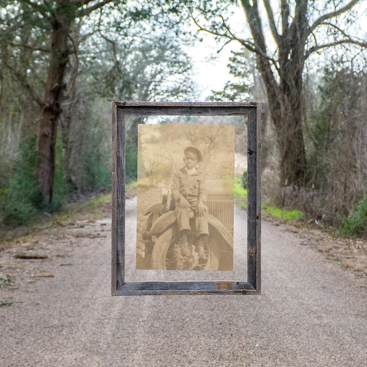 My Grandmother's younger brother, Will Burton Jr. The new image of the road was made around the same time of year that Will Jr appeared in the original image around 1935.