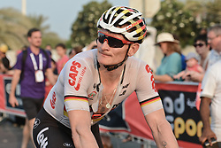October 21, 2016 - Abu Dhabi, United Arab Emirates - Andre Greipel, a German professional road bicycle racer for UCI World Tour team Lotto–Soudal, at the end of the second stage of the Tour of Abu Dhabi, the Nation Towers Stage, a 115km that runs mostly in the city of Abu Dhabi. After two stages, Cavendish takes the leader jersey of the race..On Friday, 21 October 2016, in  Abu Dhabi, UAE. (Credit Image: © Artur Widak/NurPhoto via ZUMA Press)