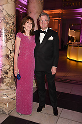 The Earl & Countess Balfour at The Sugarplum Dinner 2017 to benefit the type 1 diabetes charity JDRF held at the Victoria & Albert Museum, Cromwell Road, London England. 14 November 2017.<br /> Photo by Dominic O'Neill/SilverHub 0203 174 1069 sales@silverhubmedia.com