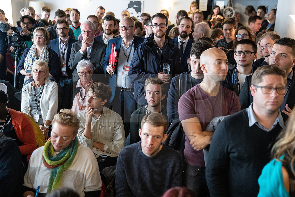 © Licensed to London News Pictures . 23/09/2018. Liverpool, UK. Crowd in a packed rally by The Jewish Labour Movement in a room above The Liverpool Pub in central Liverpool during the first day of the 2018 Labour Party Conference . Photo credit: Joel Goodman/LNP
