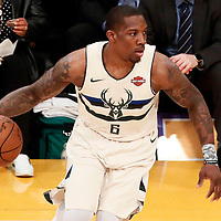 30 March 2018: Milwaukee Bucks guard Eric Bledsoe (6) dribbles during the Milwaukee Bucks 124-122 victory over the LA Lakers, at the Staples Center, Los Angeles, California, USA.