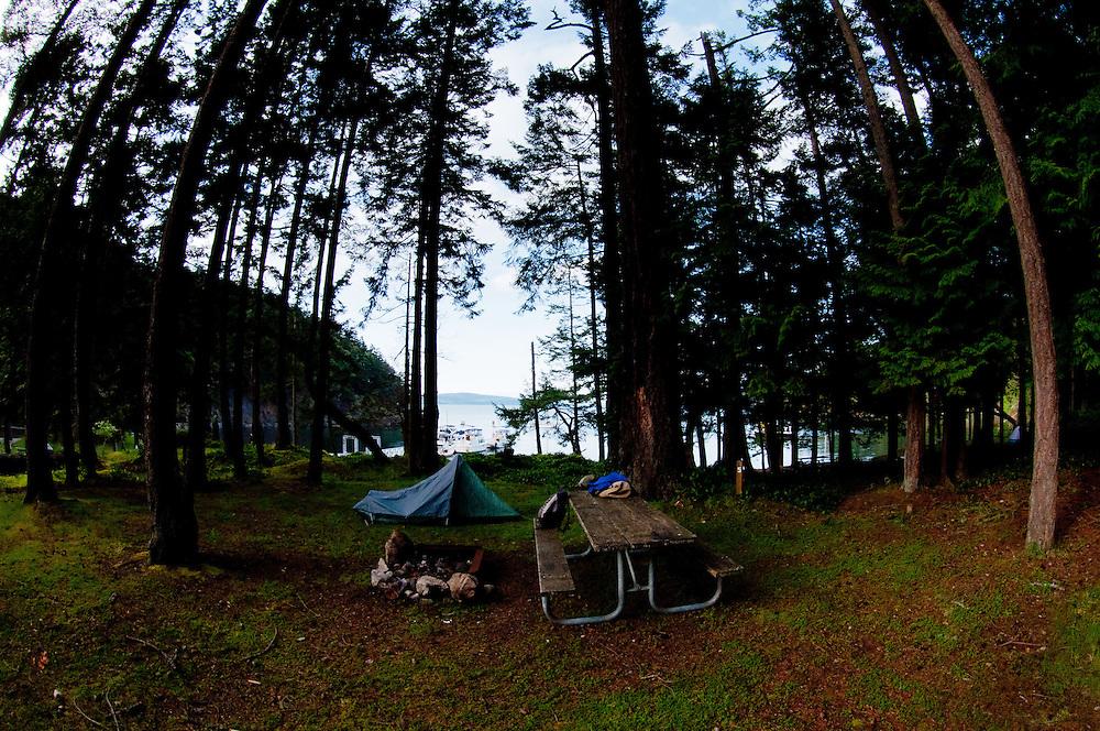 Camping at Jones Island State Park, San Juan Islands, Washington, US
