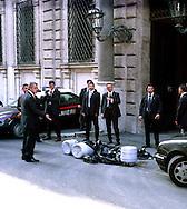 Roma 3 Ottobre 2003<br /> Secchi di letame gettati  dai disobbedienti (No Global) davanti a Palazzo Grazioli residenza di Silvio Berlusconi<br /> Roma October 3 2003.The movement of disobbedienti (the disobedient ones) (No global) have dumped several bags of manure in front of Berlusconi's Roman residence.