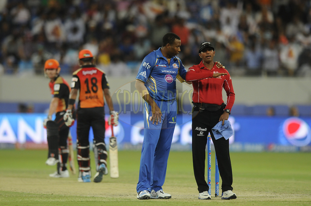 during match 20 of the Pepsi Indian Premier League Season 2014 between the Mumbai Indians and the Sunrisers Hyderabad held at the Dubai International Stadium, Dubai, United Arab Emirates on the 30th April 2014<br /> <br /> Photo by Pal Pillia / IPL / SPORTZPICS
