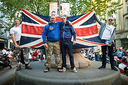 © Licensed to London News Pictures . 25/05/2017 . Manchester , UK . Father of of bombing victim Olivia Campbell , PAUL HODGSON and his friend CHRIS HOWARD attend a scooter-led rally to lay flowers at St Ann's Square in Central Manchester , following a terrorist attack at an Ariana Grande concert at Manchester Arena that killed twenty two people . Photo credit : Joel Goodman/LNP