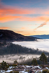 """Foggy Donner Lake Sunrise 4"" - Photograph of fog above Donner Lake in Truckee, California. Shot at sunrise."