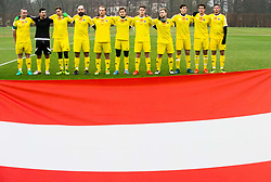TFC Team listening to the national anthem of Austria prior to the friendly football match between NK Fantazisti (SLO) and 1st TFC - First Tennis & Football Club (AUT) presented by professional and former tennis players, on November 25, 2017 in Nacionalni nogometni center Brdo pri Kranju, Slovenia. Photo by Vid Ponikvar / Sportida