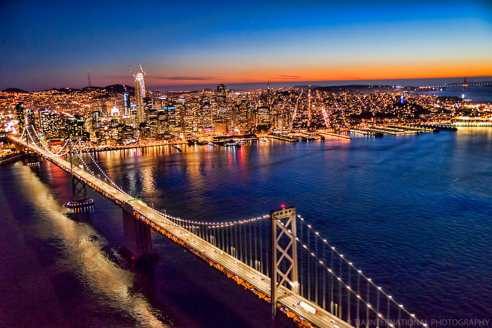 Bay Bridge & San Francisco Skyline, Sunset
