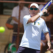 Tony Harkin, Australia, in action in the 70 Mens Singles during the 2009 ITF Super-Seniors World Team and Individual Championships at Perth, Western Australia, between 2-15th November, 2009.
