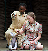 946: The Amazing Story of Adolphus Tips <br /> directed by Emma Rice at The Globe Theatre, London, Great Britain <br /> press photocall <br /> 16th August 2016 <br /> <br /> Katy Owen as Lily <br /> <br /> Nandi Bhebhe as Tips The Cat <br /> <br /> <br /> <br /> <br /> <br /> Photograph by Elliott Franks <br /> Image licensed to Elliott Franks Photography Services
