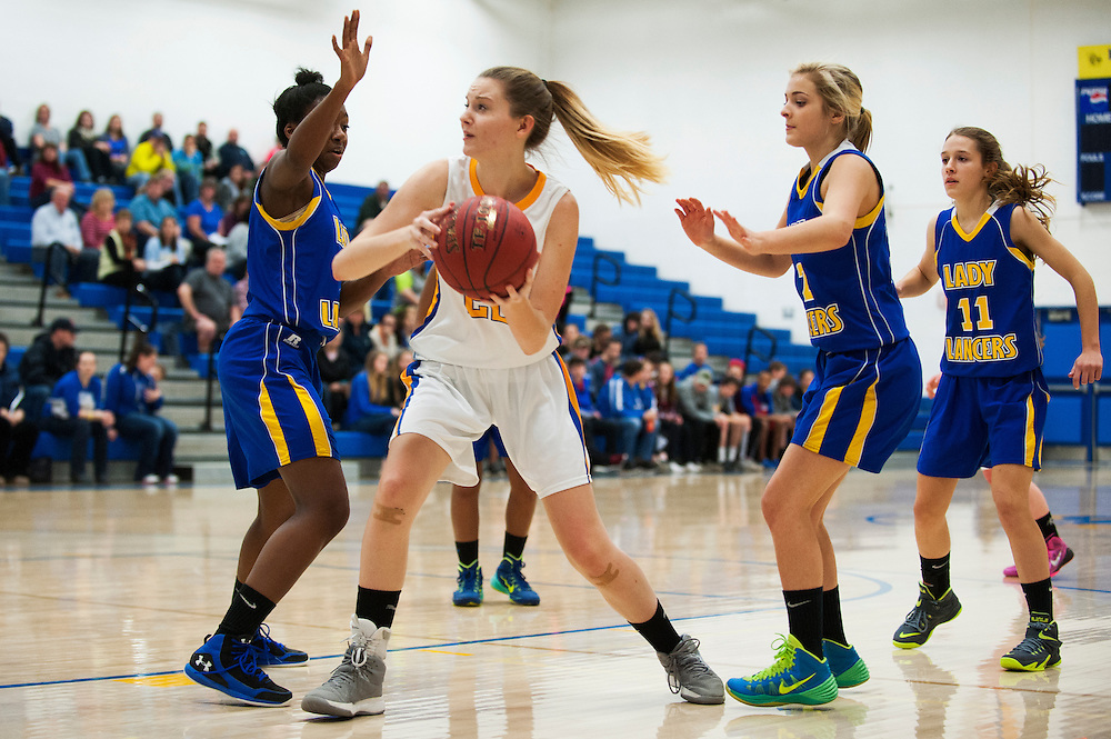 Milton's Madalyn Leggett (22) drives to the hoop during the girls basketball game between Lamoille and Milton at Milton High School on Friday night December 18, 2015 in Milton, (BRIAN JENKINS/for the FREE PRESS)