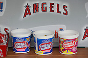 ANAHEIM, CA - MAY 22:  Dubble Bubble gum containers are lined up on the dugout wall at the game between the Atlanta Braves and the Los Angeles Angels of Anaheim on Sunday, May 22, 2011 at Angel Stadium in Anaheim, California. The Angels won the game 4-1. (Photo by Paul Spinelli/MLB Photos via Getty Images)