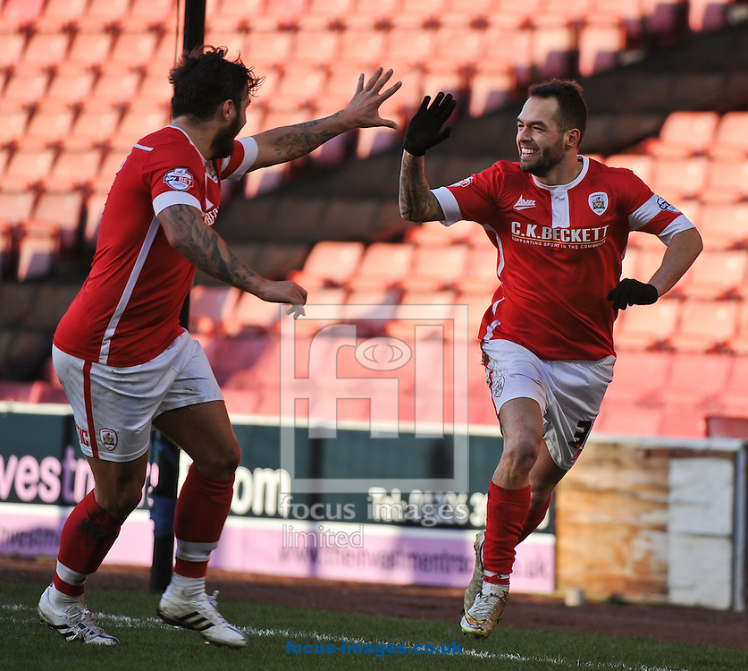 Milan Lalkovic (R) of Barnsley celebrates scoring to make it 1-0 with Dale Jennings (L) during the Sky Bet League 1 match at Oakwell, Barnsley<br /> Picture by Richard Land/Focus Images Ltd +44 7713 507003<br /> 31/01/2015
