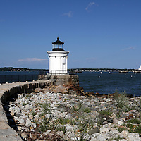 Portland Breakwater Lighthouse also called Bug Light is in South Portland at the entrance to Portland's harbor from Casco Bay, Maine, USA.