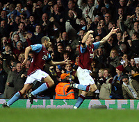 Photo: Mark Stephenson/Sportsbeat Images.<br /> Aston Villa v Tottenham Hotspur. The FA Barclays Premiership. 01/01/2008.Villa's Martin Laursen (F) celebrates his winning goal for 2-1