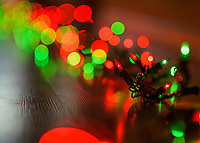 Strand of green and red decorative holiday lights