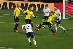 2 December 2017 -  Premier League - Watford v Tottenham Hotspur - Goalmouth action between Andre Gray, Richarlison and Sebastian Prodl of Watford and Harry Winks, Eric Dier and Kieran Trippier of Tottenham Hotspur - Photo: Charlotte Wilson/Offside