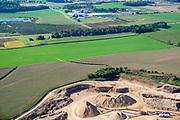 Aerial photograph of farmland and a limestone quarry. Dane County, Wisconsin, USA.