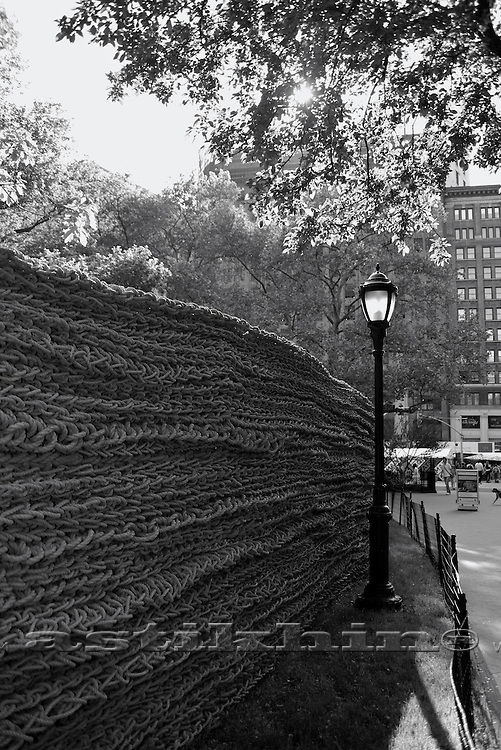 Orly Genger's Red, Yellow and Blue in Madison Square Park. NYC. Black and White.