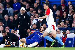 Eden Hazard of Chelsea looks in pain after being tackled by Ondrej Kudela of Slavia Prague  - Mandatory by-line: Robbie Stephenson/JMP - 18/04/2019 - FOOTBALL - Stamford Bridge - London, England - Chelsea v Slavia Prague - UEFA Europa League Quarter Final 2nd Leg