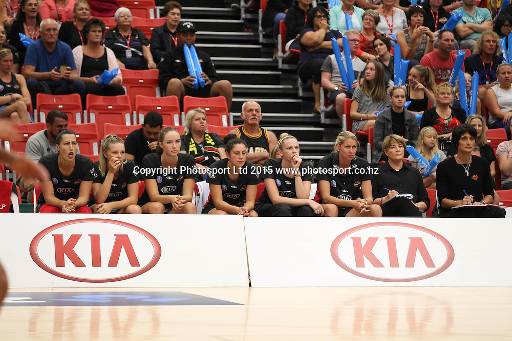 Magic bench. Kia Magic v Melbourne Vixens, ANZ Netball Championship, ASB Stadium, Tauranga, New Zealand. Monday, 15 March, 2015. Copyright photo: markmckeown.com/photosport.co.nz
